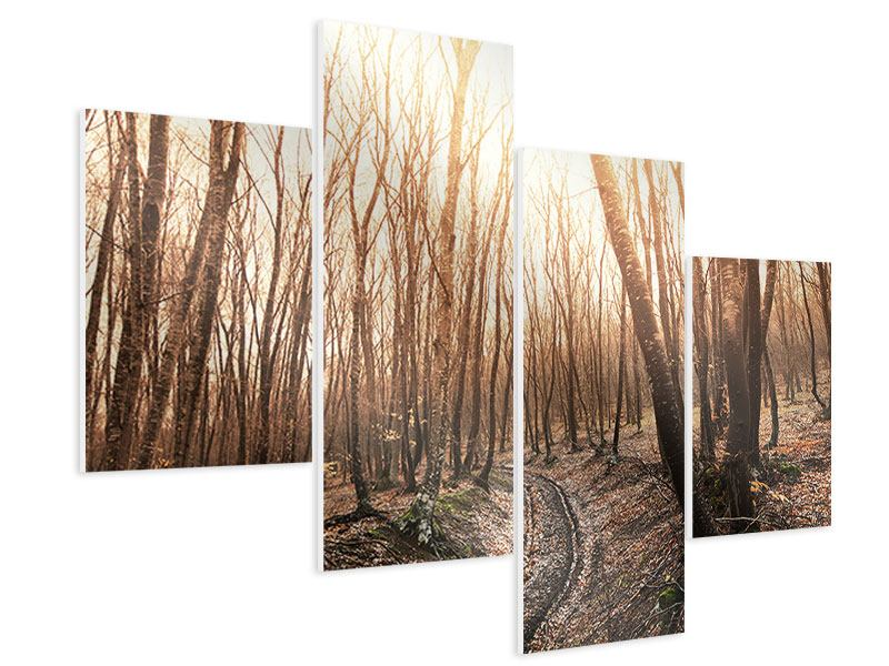 Hartschaumbild 4-teilig modern Der kahle Wald