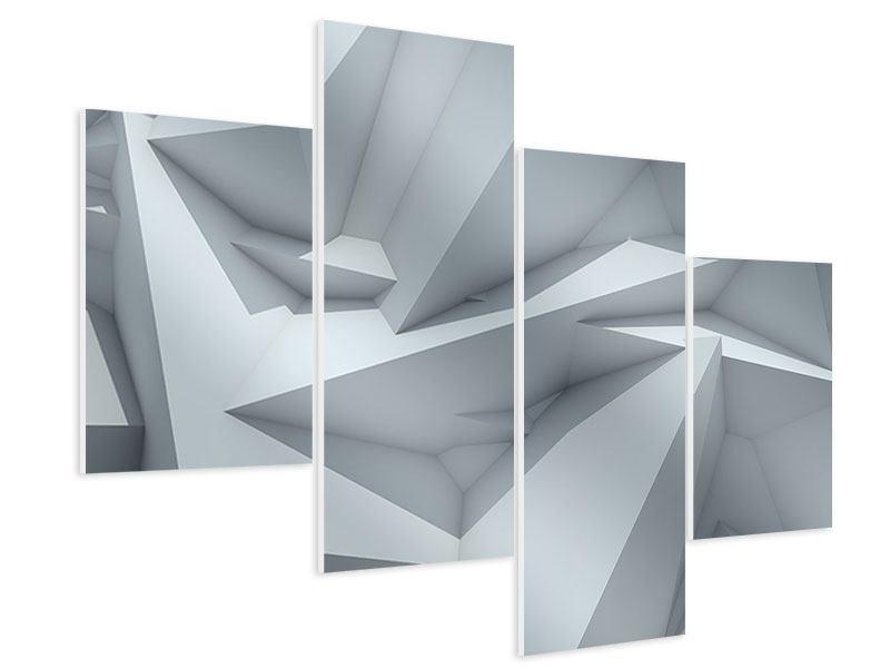 Hartschaumbild 4-teilig modern 3D-Kristallo