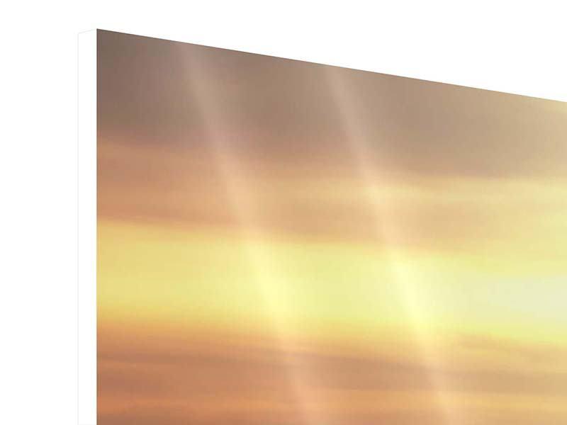 Hartschaumbild 4-teilig modern Sonnenuntergang an der See