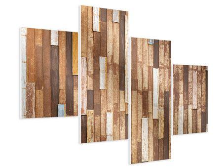 Hartschaumbild 4-teilig modern Designholz