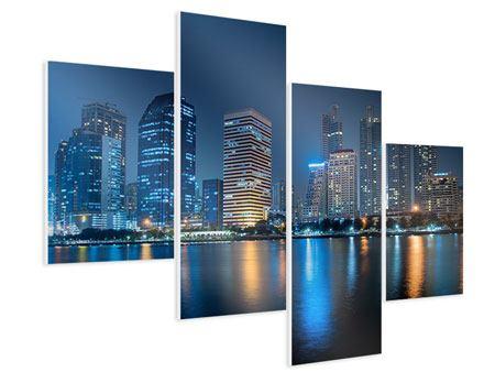 Hartschaumbild 4-teilig modern Skyline Bangkok bei Nacht