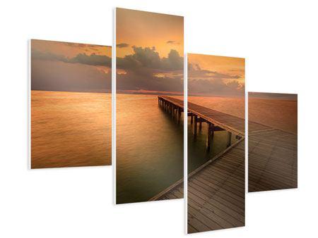 Hartschaumbild 4-teilig modern Der Steg am Meer