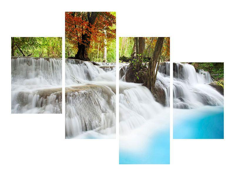 Hartschaumbild 4-teilig modern Erawan Wasserfall