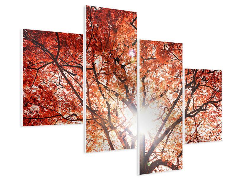 Hartschaumbild 4-teilig modern Herbstlicht