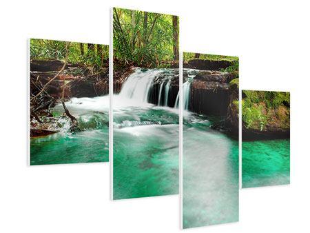 Hartschaumbild 4-teilig modern Der Fluss am Wasserfall