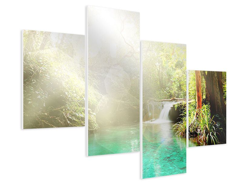 Hartschaumbild 4-teilig modern Die grüne Lagune
