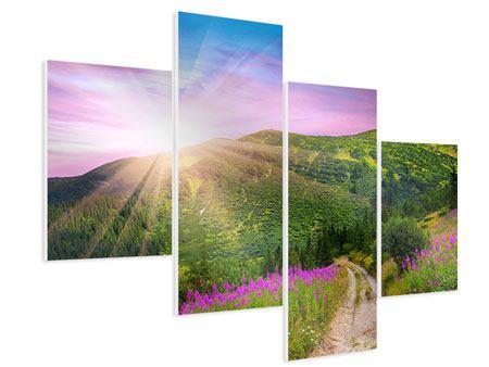 Hartschaumbild 4-teilig modern Eine Sommerlandschaft bei Sonnenaufgang