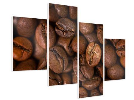 Hartschaumbild 4-teilig modern Close Up Kaffeebohnen