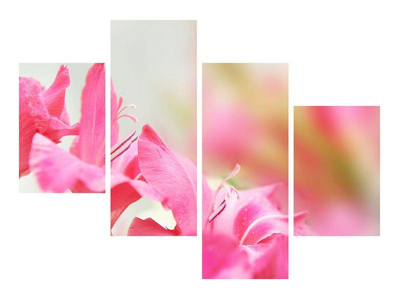 Hartschaumbild 4-teilig modern Gladiolen