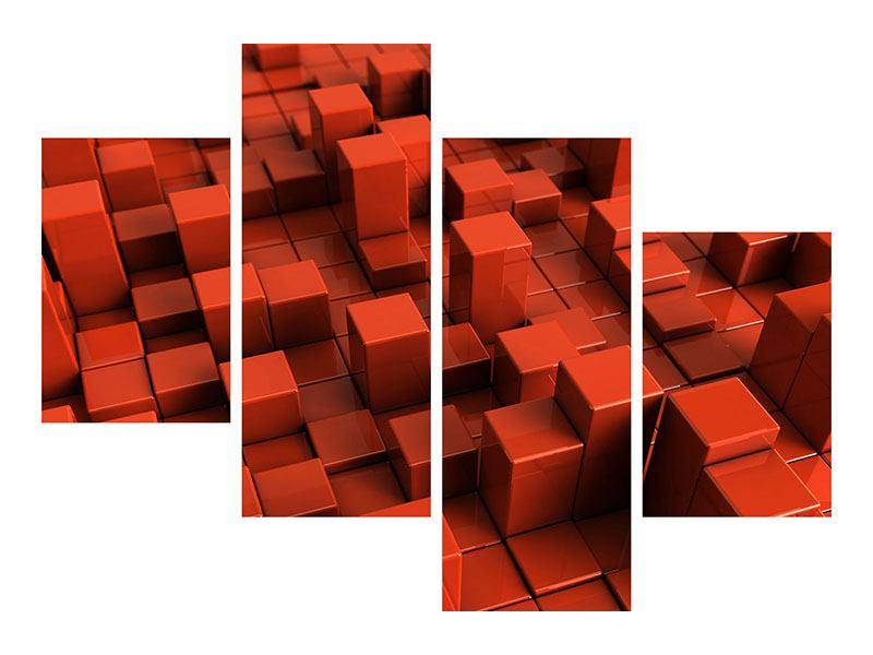 Hartschaumbild 4-teilig modern 3D-Rechtkant