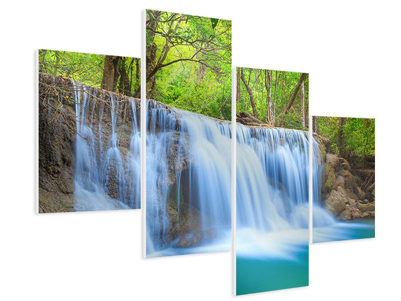 Hartschaumbild 4-teilig modern Wasserfall Si Nakharin