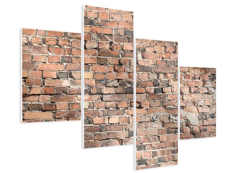 Hartschaumbild 4-teilig modern Alte Backsteinmauer
