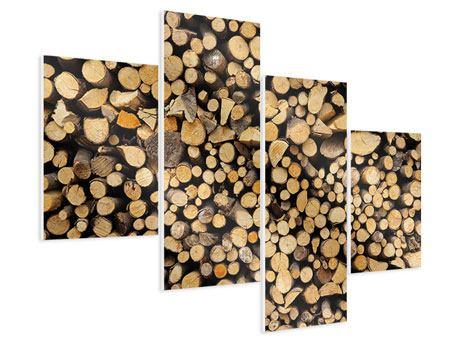 Hartschaumbild 4-teilig modern Brennholz