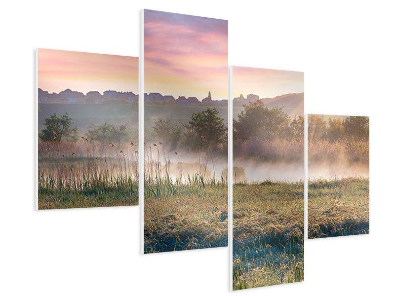Hartschaumbild 4-teilig modern Sonnenuntergang am Hügel