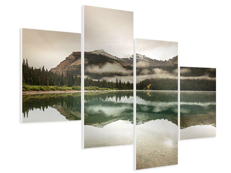 Hartschaumbild 4-teilig modern Spiegelung im Glacier Nationalpark