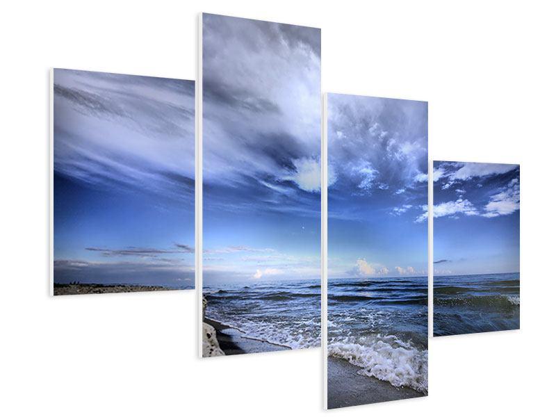 Hartschaumbild 4-teilig modern Strandwellen