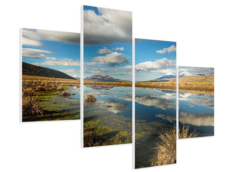 Hartschaumbild 4-teilig modern Wasserspiegelung am See