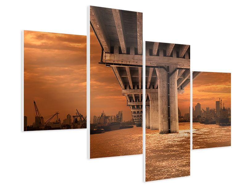 Hartschaumbild 4-teilig modern Die Brücke