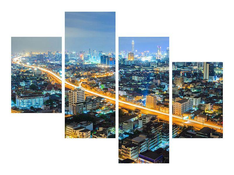 Hartschaumbild 4-teilig modern Skyline Bangkok im Fieber der Nacht