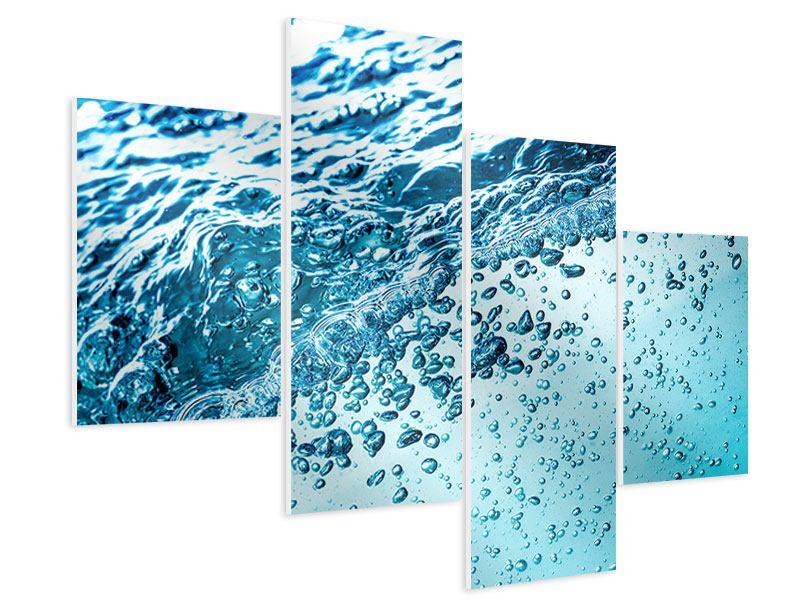 Hartschaumbild 4-teilig modern Wasser in Bewegung