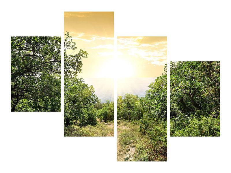 Hartschaumbild 4-teilig modern Am Ende des Waldes