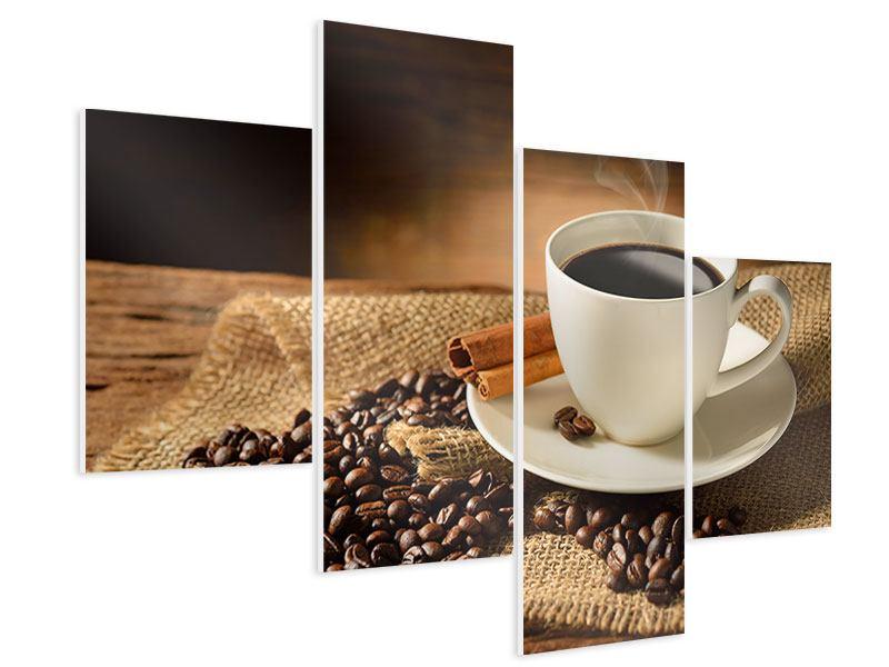 Hartschaumbild 4-teilig modern Kaffeepause
