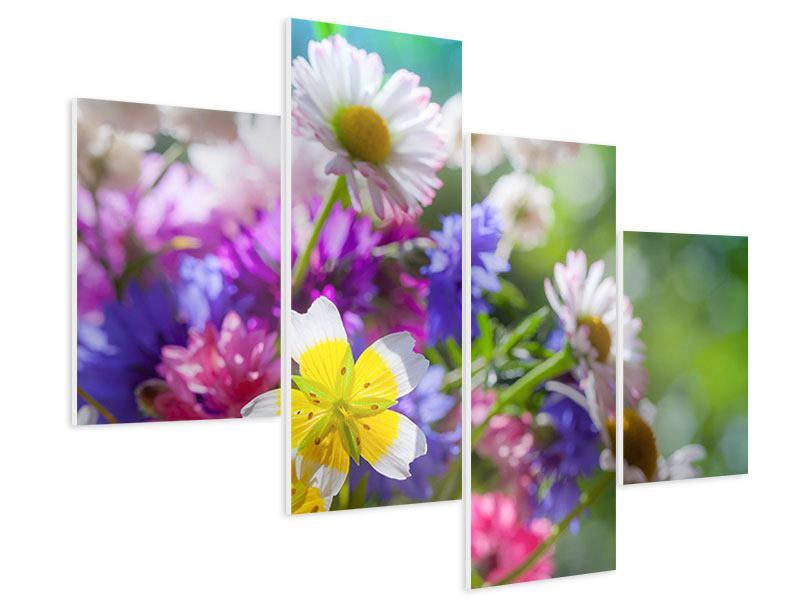 Hartschaumbild 4-teilig modern XXL Gartenblumen
