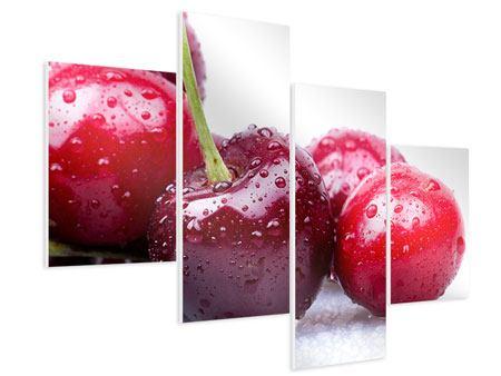 Hartschaumbild 4-teilig modern Kirschen
