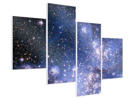 Hartschaumbild 4-teilig modern Sternenhimmel