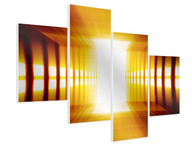 Hartschaumbild 4-teilig modern Abstrakter Goldener Raum