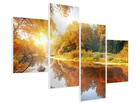 Hartschaumbild 4-teilig modern Waldspiegelung im Wasser