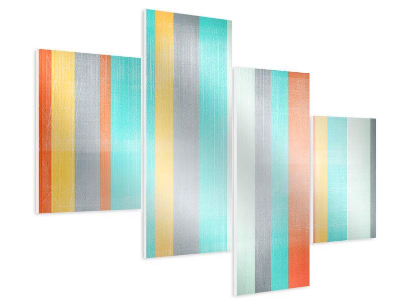 Hartschaumbild 4-teilig modern Grunge Streifen