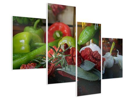 Hartschaumbild 4-teilig modern Mediterranes Gemüse