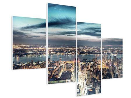 Hartschaumbild 4-teilig modern Skyline Manhattan Citylights