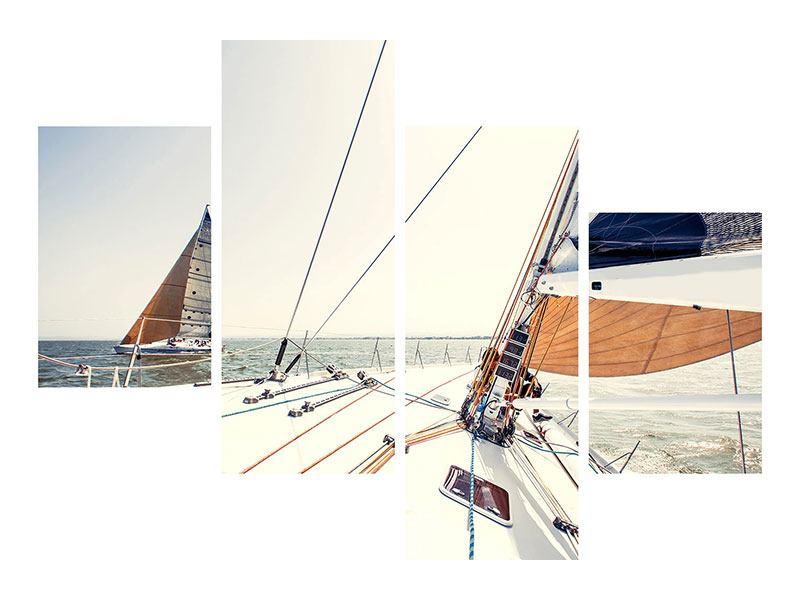 Hartschaumbild 4-teilig modern Segelyacht