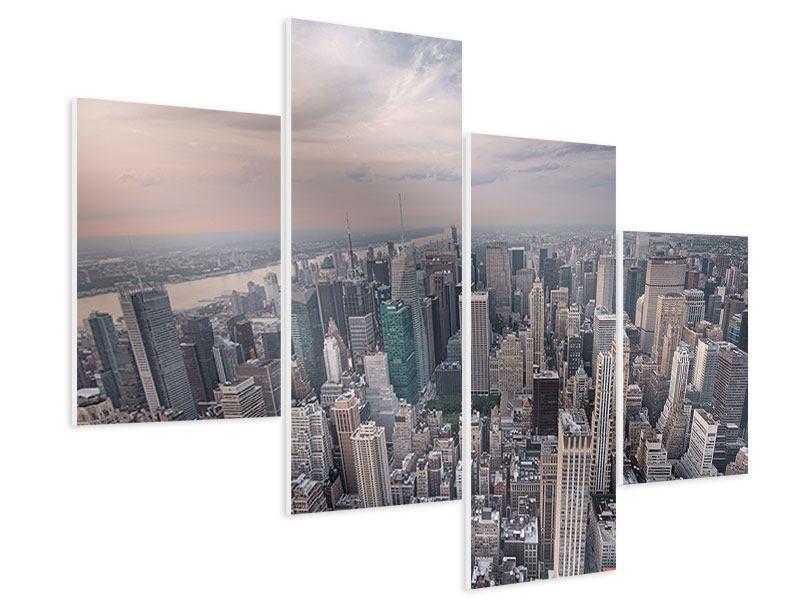 Hartschaumbild 4-teilig modern Skyline Blick über Manhattan
