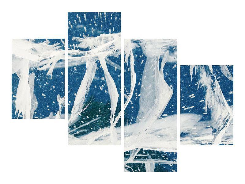Hartschaumbild 4-teilig modern Eiskristalle