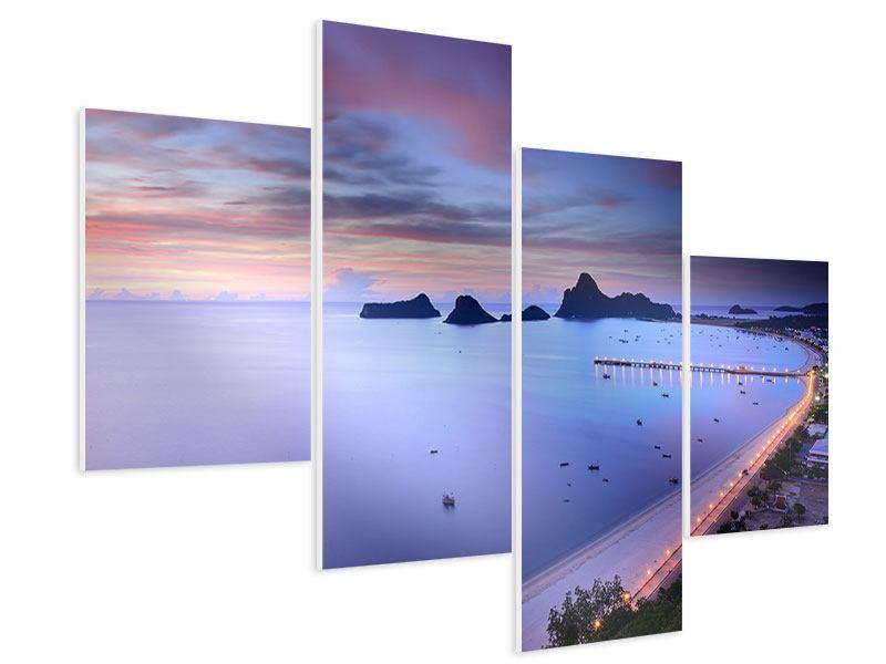 Hartschaumbild 4-teilig modern Ano Manao Bucht