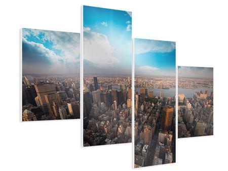 Hartschaumbild 4-teilig modern Skyline Über den Dächern von Manhattan