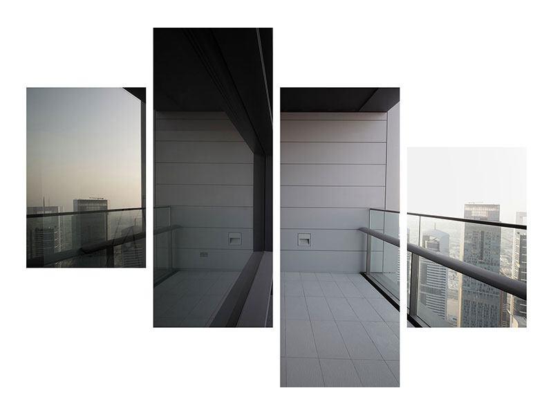 Hartschaumbild 4-teilig modern Balkon in Dubai