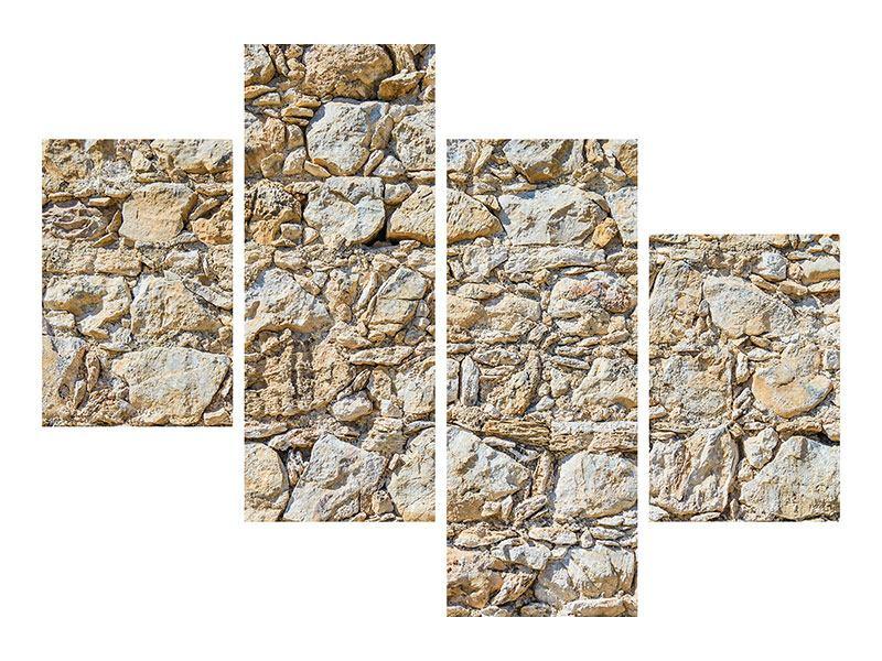Hartschaumbild 4-teilig modern Sandsteinmauer