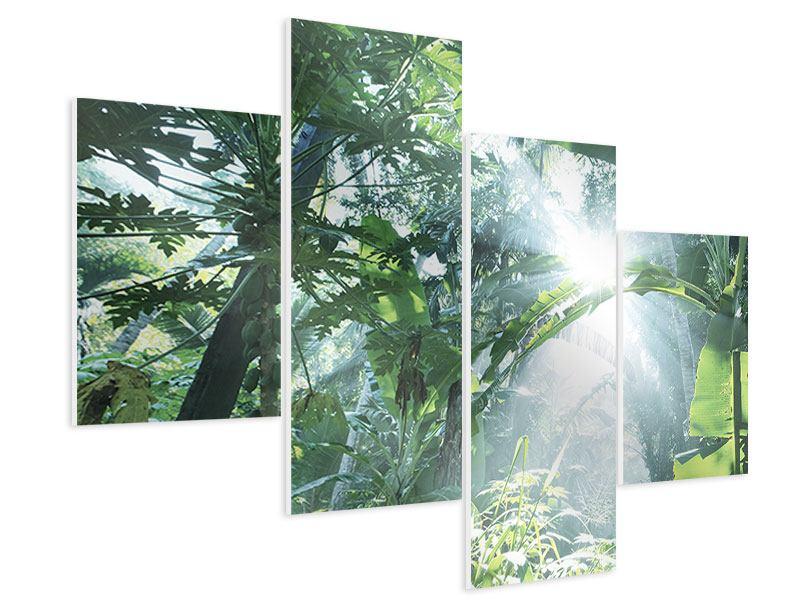 Hartschaumbild 4-teilig modern Dschungelstar