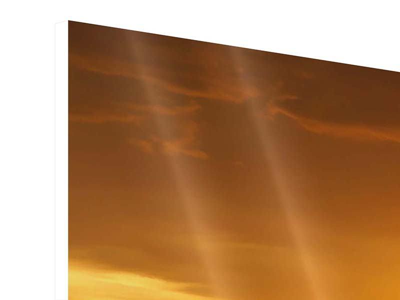 Hartschaumbild 4-teilig modern Glühender Sonnenuntergang am Wasser