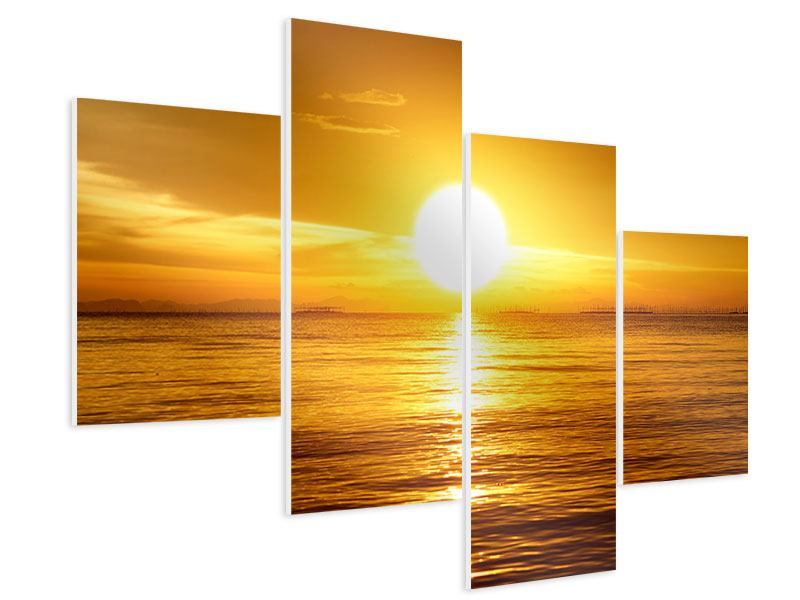 Hartschaumbild 4-teilig modern Traumhafter Sonnenuntergang
