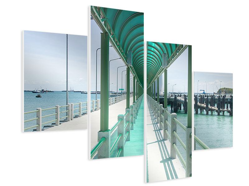 Hartschaumbild 4-teilig modern Die Brücke am Meer