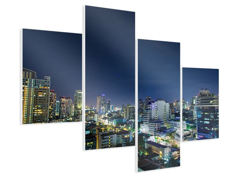 Hartschaumbild 4-teilig modern Skyline Nachts in Bangkok