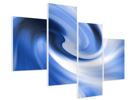 Hartschaumbild 4-teilig modern Abstrakte blaue Welle