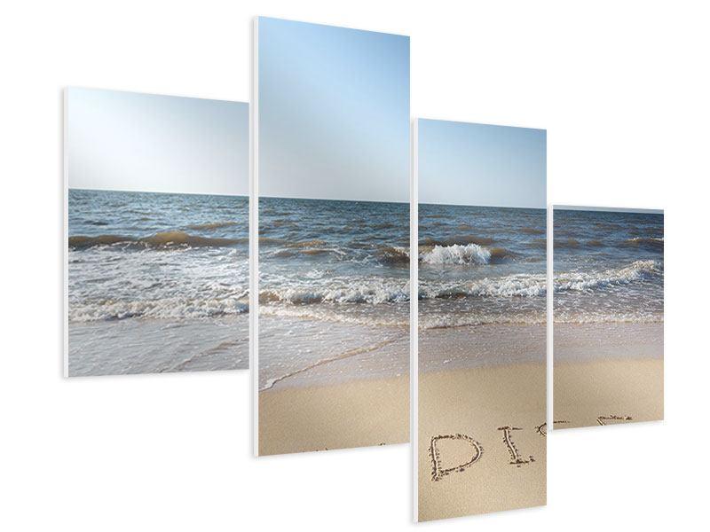 Hartschaumbild 4-teilig modern Sandspuren