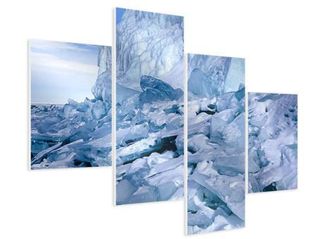 Hartschaumbild 4-teilig modern Eislandschaft Baikalsee