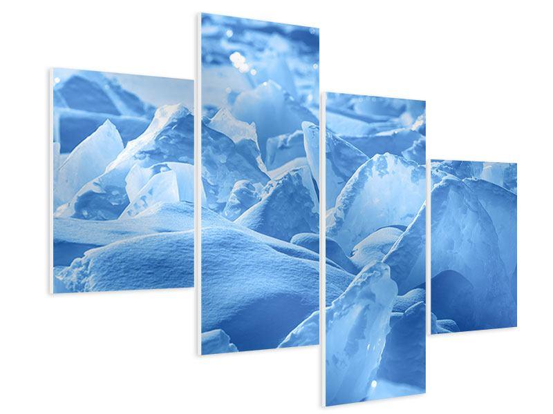 Hartschaumbild 4-teilig modern Eis des Baikalsees